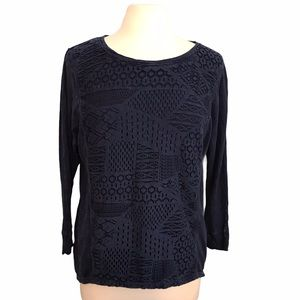 Chip & Pepper Lace Front Long Sleeve Shirt Navy XS